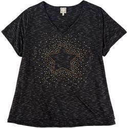 Tru Self Plus Star Studded V-Neck Shirt