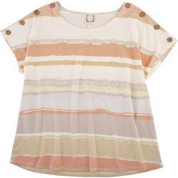 Tru Self Plus Stripe Short Sleeve Top Buttons Detail