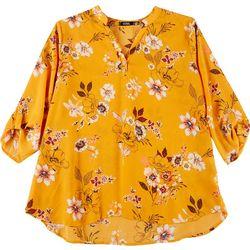 Plus Floral Print Button Tab Top