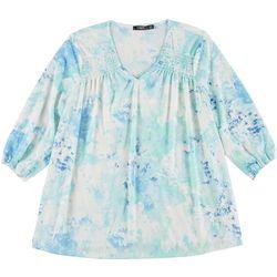 Cure Apparel Plus Tie Dye Long Sleeve Knit Tunic