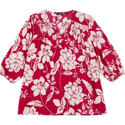 Cure Apparel Plus Floral Silhouette Long Sleeve Knit