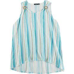 Cure Apparel Plus Tye Dye Waffle Knit Sleeveless Top