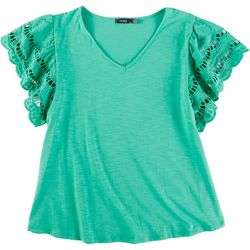 Cure Apparel Plus Crochet Sleeve Top