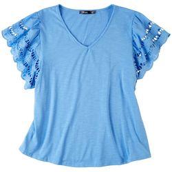Cure Apparel Plus Crochet Sleeve Top