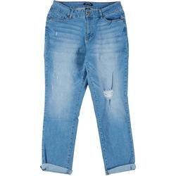 Womens Recycled Girlfriend Cuffed Denim Jeans