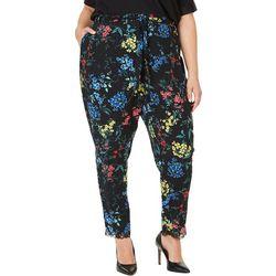 Plus Floral Print Lace Trim Pants