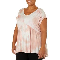 Tru Self Plus Tie Dye Babydoll Short Sleeve Top