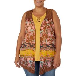 Tru Self Plus Floral Detail Sleeveless Top & Vest Set