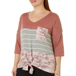 Tru Self Plus Mixed Colorblock Print Tie Front Top