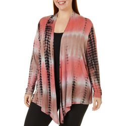 Tru Self Plus Tie Dye Open Front Long Sleeve Cardigan