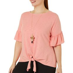Tru Self Plus Solid Ruffle Sleeve Tie Front Top