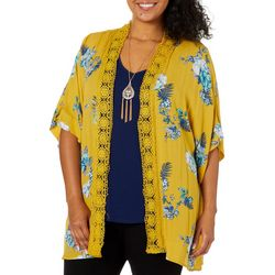 Tru Self Plus 3-pc. Floral Print Crochet Trim Kimono Set