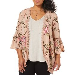 Tru Self Plus 3-pc. Rose Print Crochet Trim Kimono Set