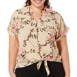 Tru Self Plus Floral Tie Front Button Down Top