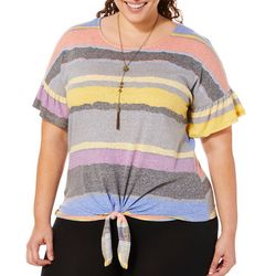 Tru Self Plus Necklace & Striped Tie Front Ruffle Sleeve Top