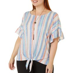 Tru Self Plus Striped Ruffle Sleeve Tie Front Top