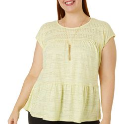 Tru Self Plus Foil Print Peplum Dolman Sleeve Top