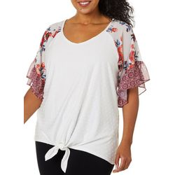 Tru Self Plus Floral Detail Tie Front Ruffle Sleeve Top