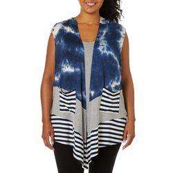 Tru Self Plus Tie Dye Mix Media Sleeveless Top & Vest Set