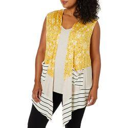 Tru Self Plus Floral Mix Media Sleeveless Top & Vest Set