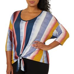 Tru Self Plus Vertical Stripe Tie Front V-Neck Top