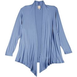 Plus Solid Open Front Long Sleeve Cardigan