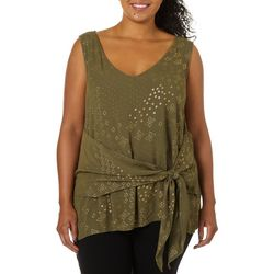 Tru Self Plus Geo Diamond Foil Print Tie Front V-Neck Top