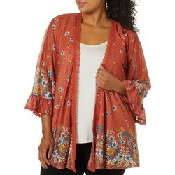Tru Self Plus Mixed Floral Print Bell Sleeve Duet Top