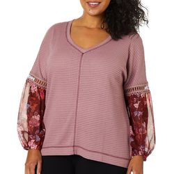 Tru Self Plus Waffle Texture Floral Panel Sleeve Top
