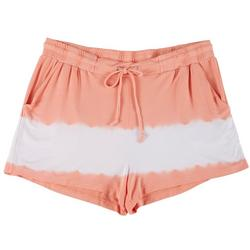 Plus Tie Dye Drawstring Fabric Shorts