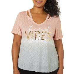 Plus Kind Vibes Only Ombre Short Sleeve Top