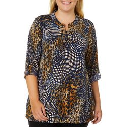 Grace Plus Animal & Dot Print Lace Up Neck Top