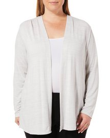 Workshop Plus Heathered Open Front Cardigan