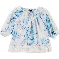 Plus Lace Trimmed Floral Top