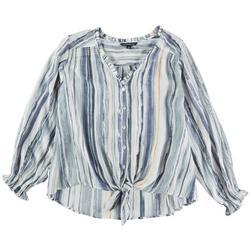 Plus Stripe Button Up Pocket Top