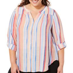 Zac & Rachel Plus Vertical Stripe Tie Front Button Down Top