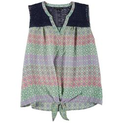 Zac & Rachel Plus Crochet Printed Tie Front Top