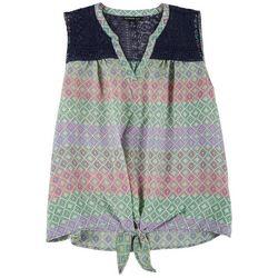 Zac & Rachel Plus Crochet Printed Tie Front Top