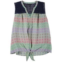 Plus Crochet Printed Tie Front Top