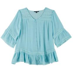 Plus Lacey Button Front Top