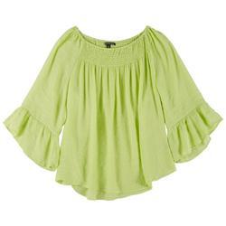 Plus Smocked Flowy 3/4 Sleeve Blouse