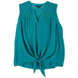 Zac & Rachel Plus Solid Crochet Detail Tie Front Top