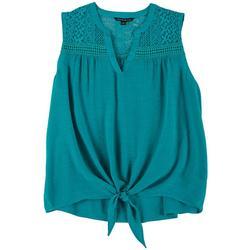 Plus Solid Crochet Detail Tie Front Top