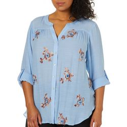 Zac & Rachel Plus Floral Embroidered Top
