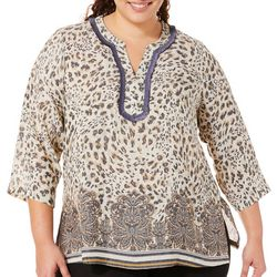Zac & Rachel Plus Animal Border Print V-Neck Top