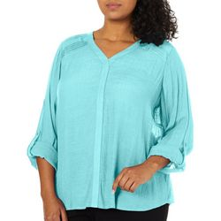 Zac & Rachel Plus Solid Pleated Shoulder Top