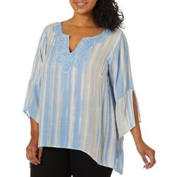 Zac & Rachel Plus Striped Embroidered Sharkbite Hem Top