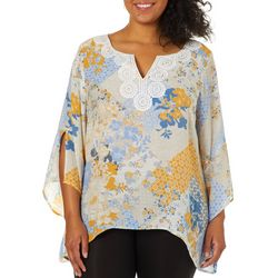 Zac & Rachel Plus Floral Patchwork Split Bell Sleeve Top