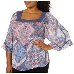 Zac & Rachel Plus Floral Patchwork Print Crochet Trim Top