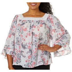 Zac & Rachel Plus Paisley Print Crochet Trim Top
